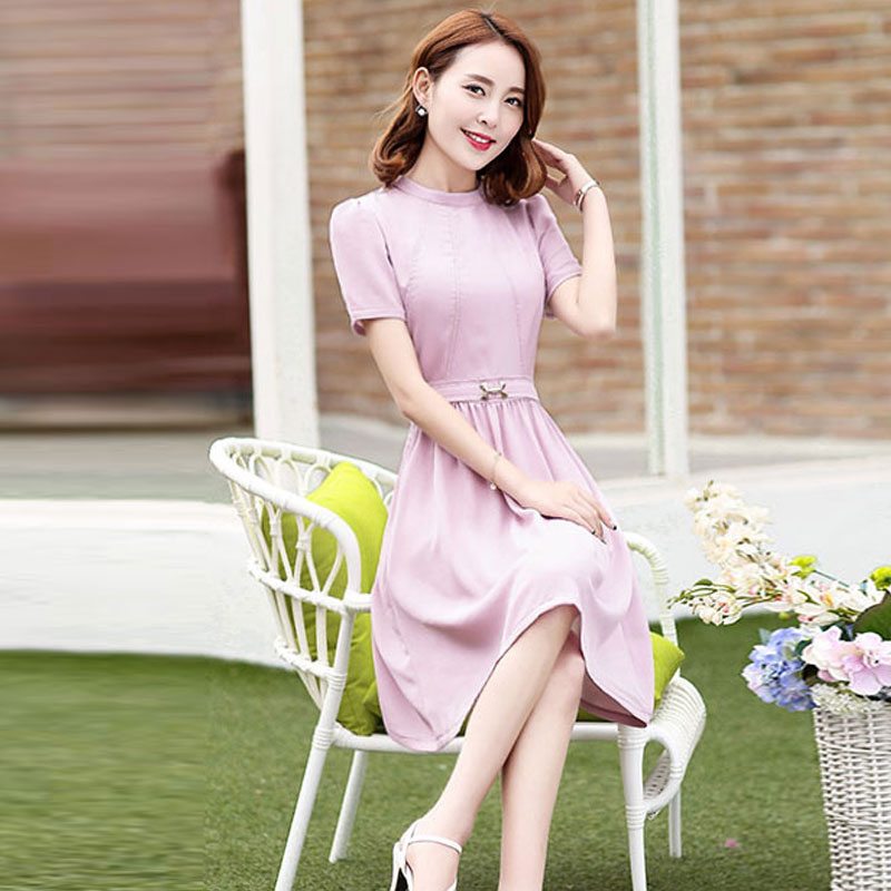 2016 summer new korean version of large size ladies summer long section of repair body skirt short sleeve dress sweet woman