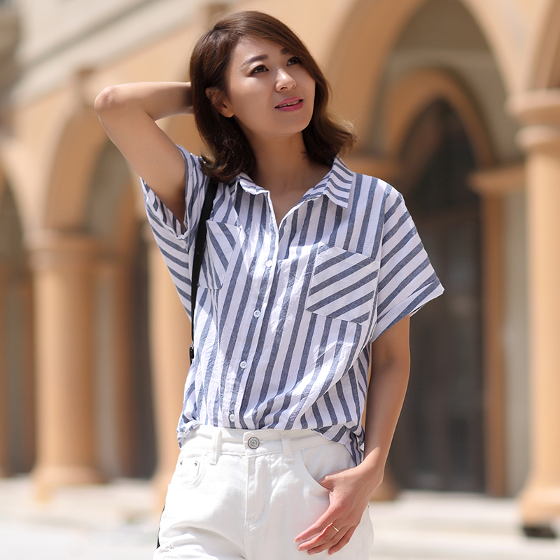 2016 summer new large size women's vintage theatrical loose cotton shirt female korean fan striped short sleeve t-shirt