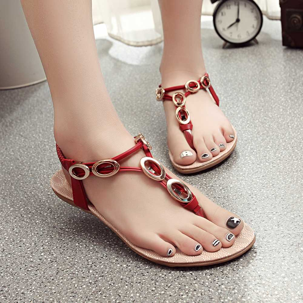 41b48d9208a251 Get Quotations · 2016 summer new roman sandals beaded clip toe flat casual  shoes with flat sand beach sandals