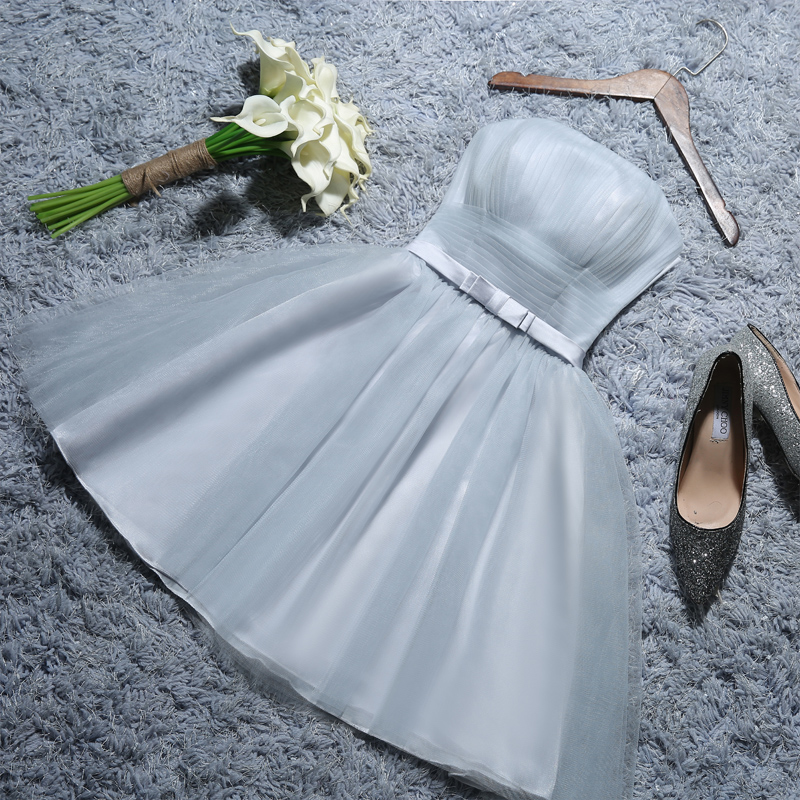 2016 summer new shoulder bridesmaid dress short paragraph sister group bridesmaid dress was thin short skirt banquet hosted at the united nations industry
