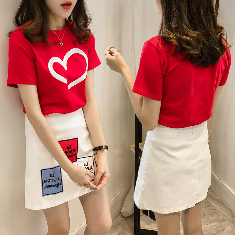 4bd94ffca664 Get Quotations · 2016 summer new women loose short sleeve t-shirt skirt piece  dress small fragrant wind