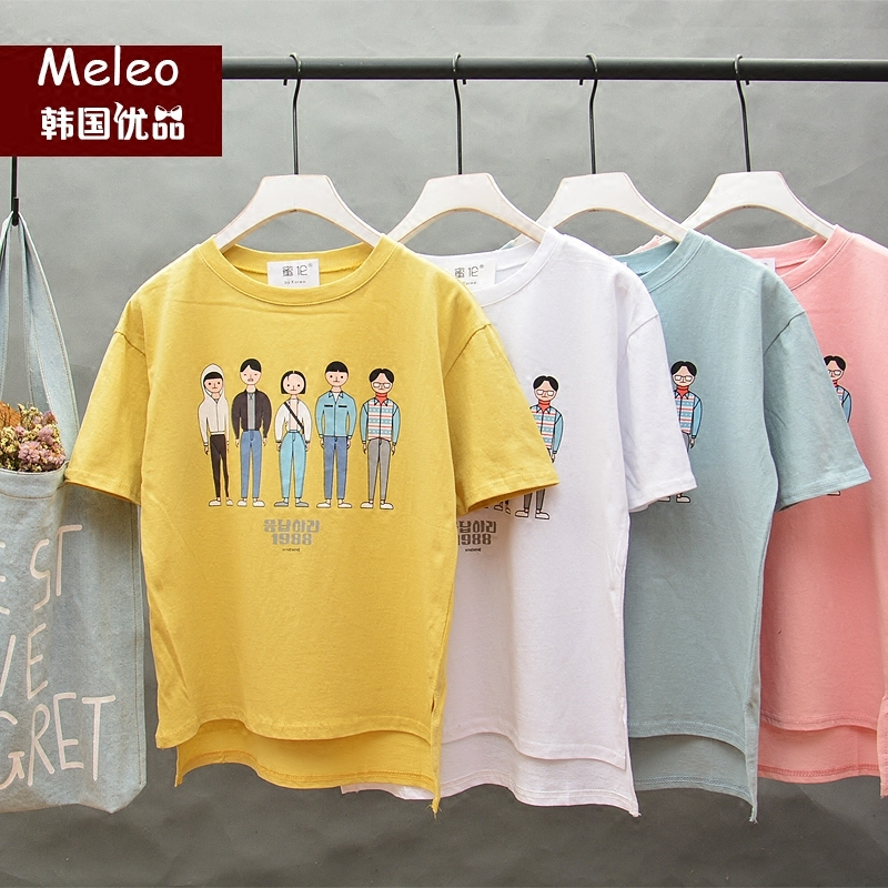 2016 summer paragraph korean literary short sleeve t-shirt female japanese sweet and playful ulzzang bf wind loose t-shirt tide wide