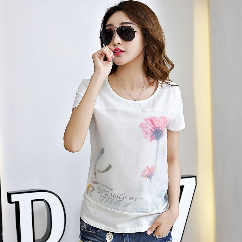 2016 summer short sleeve t-shirt slim female korean fan shirt sleeve t-shirt compassionate female pure white cotton summer korean women