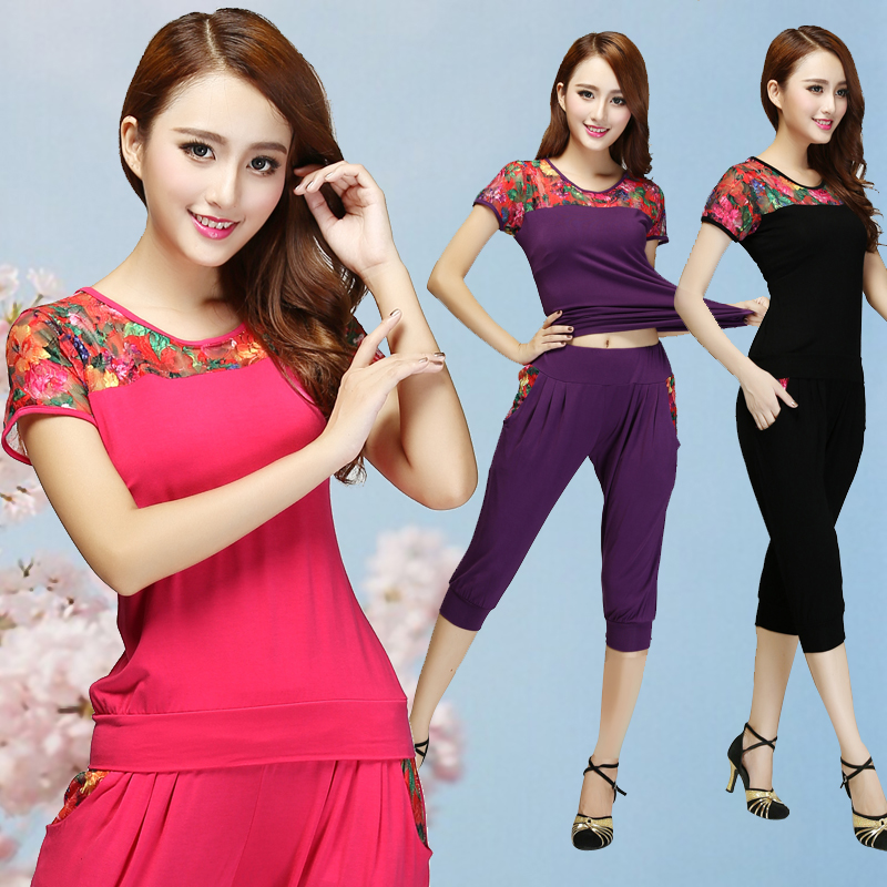 2016 summer square dance clothing elderly square dance suit new summer square dance clothes suit large yard