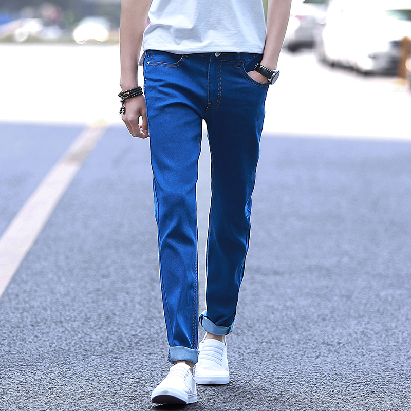 2016 summer thin section stretch jeans feet slim korean teenagers student influx of casual men's pants