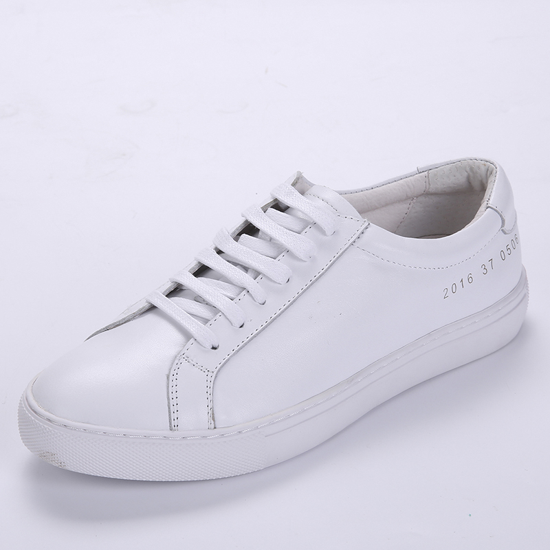 2016 summer white leather shoes couple models first layer of leather casual shoes white shoes women's shoes j