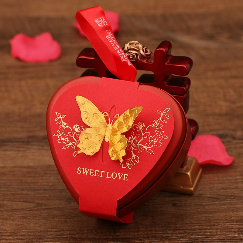 2016 wedding supplies wedding candy box candy box red heart chinese tin gift box