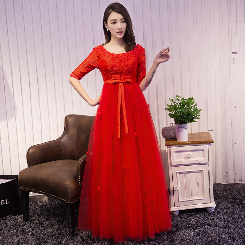 2016 wedding toast clothing for pregnant women high waist long section of the bride dress red evening dress short paragraph big yards long sleeve spring and summer women