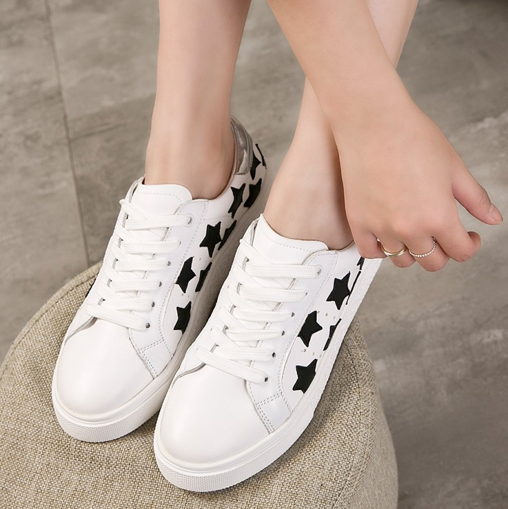 60f0ed426bb Get Quotations · 2016 spring and summer lace star shoes breathable running  shoes student movement leisure small white shoes