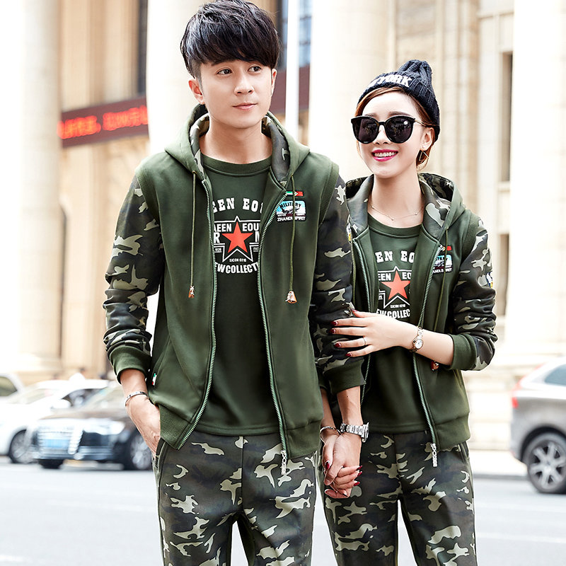 2016 winter camouflage couple track suit sportswear three sets of male and female models plus velvet leisure transport does not fall velvet autumn and winter