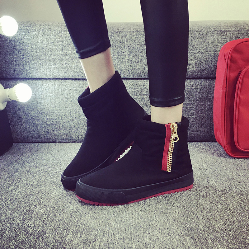 2016 winter new korean version of the warm plush snow boots female boots side zipper boots slip thick cotton boots