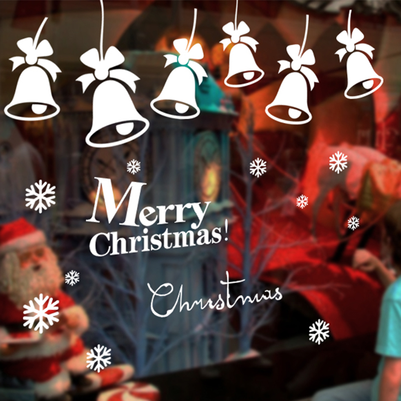 2017 bells snowflake christmas shop window glass paste stickers new year decorations wall stickers mall selling game
