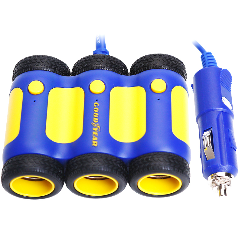 Goodyear biforate socket dual usb car charger cigarette lighter usb car charger dedicated phone charger