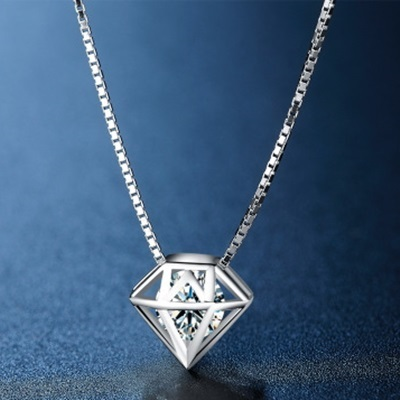 925 sterling silver necklace + diamond shape diamond pendant necklace female 73hj24 milan [boutique]