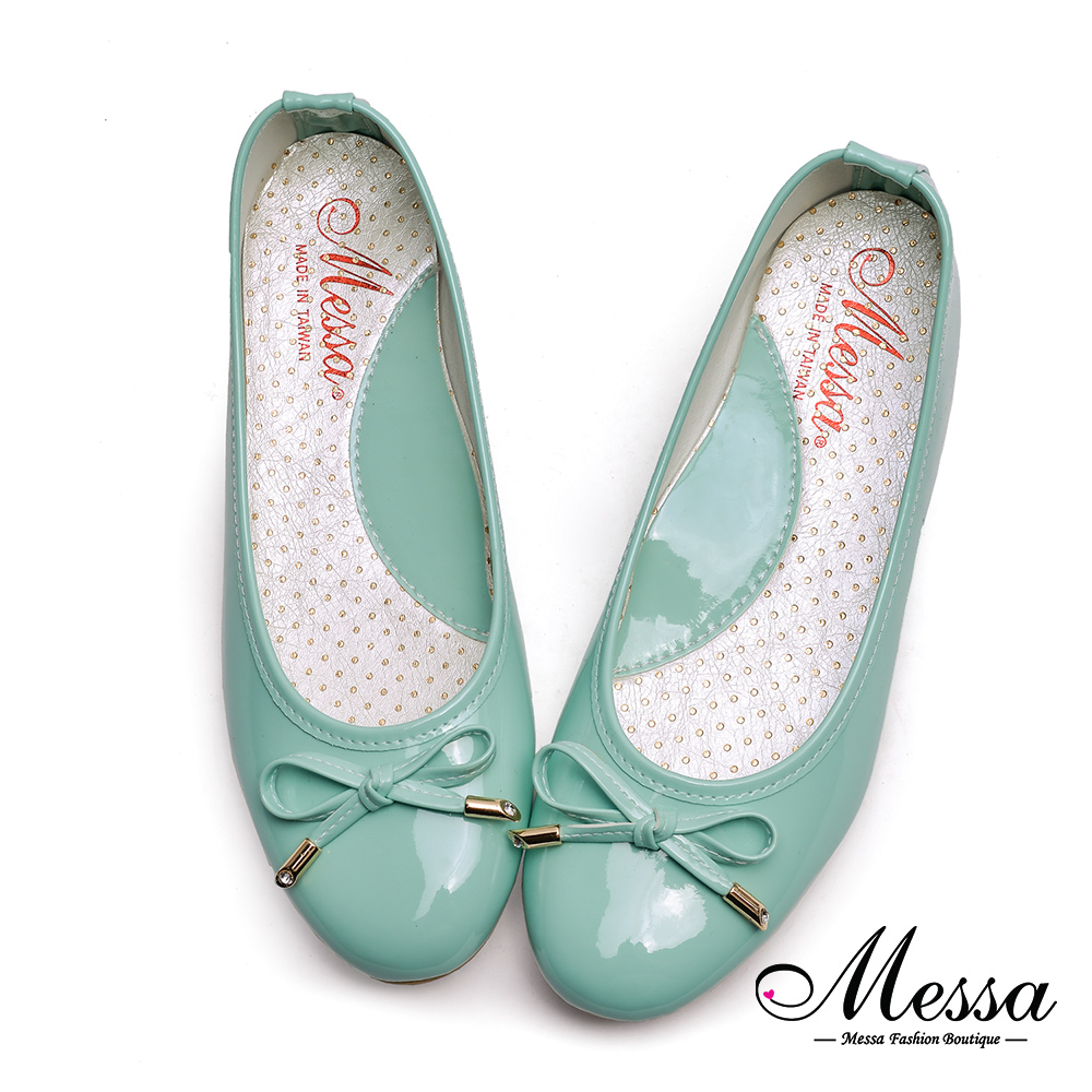 [Messa misha counter candy colored patent leather bow ballet shoes] mit beshimova beshimova shoes-green