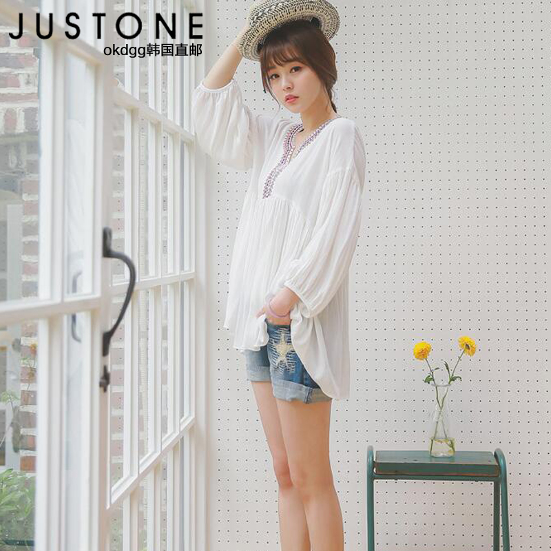 Justone authentic korean stars hole decoration stylish atmosphere casual curling denim (official website direct mail import