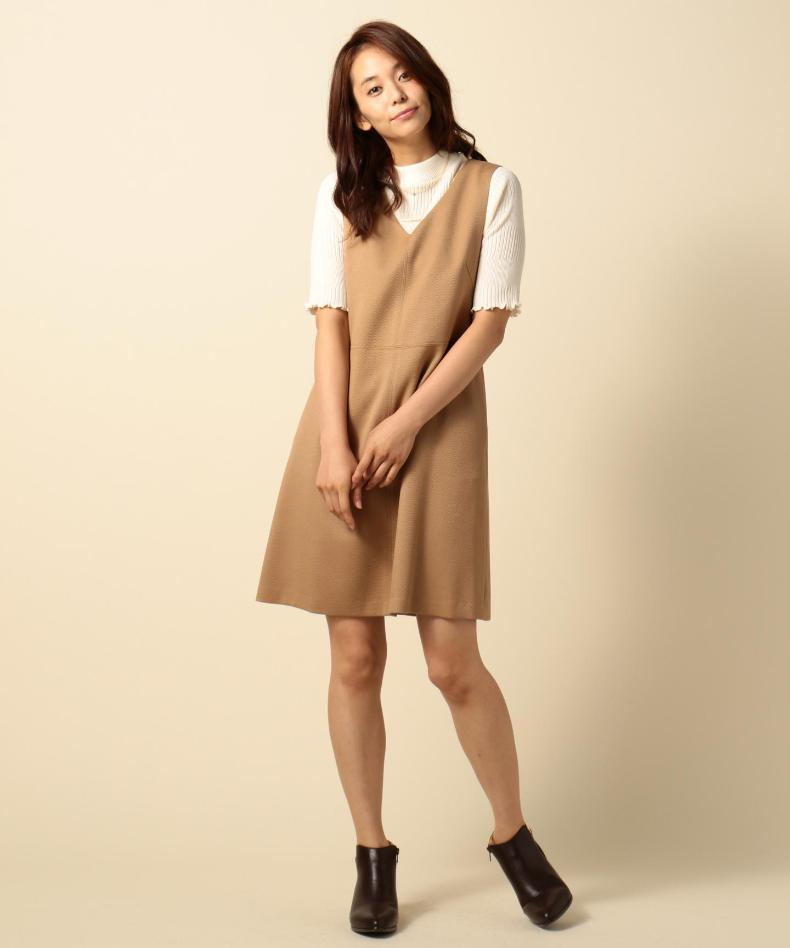 Onward 'cello' pieces of japanese ladies v-neck short sleeve retro soft even temperament stitching sleeveless dress