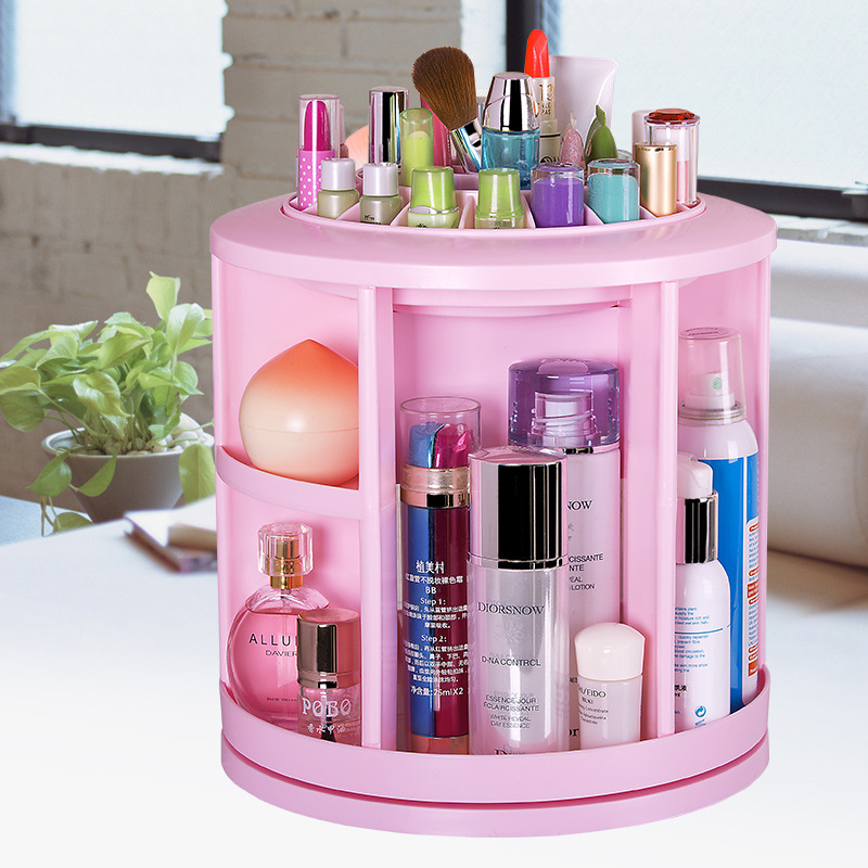 360 degree rotation desktop cosmetic storage box large dresser skincare finishing plastic storage racks