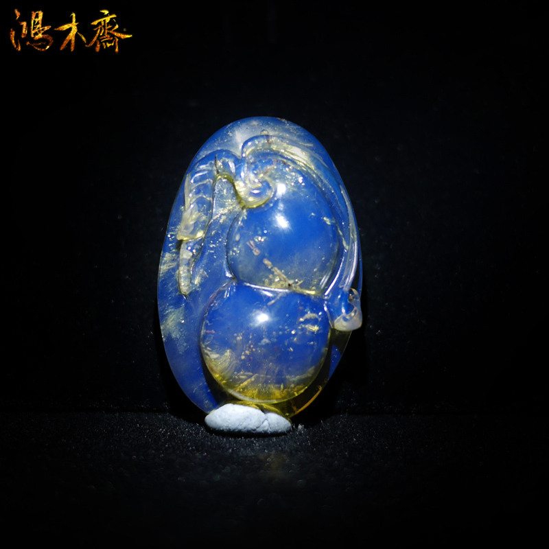 3a dominica blue sky blue amber pendant carved pieces of pieces of gourd auspicious pendant solitary BA43
