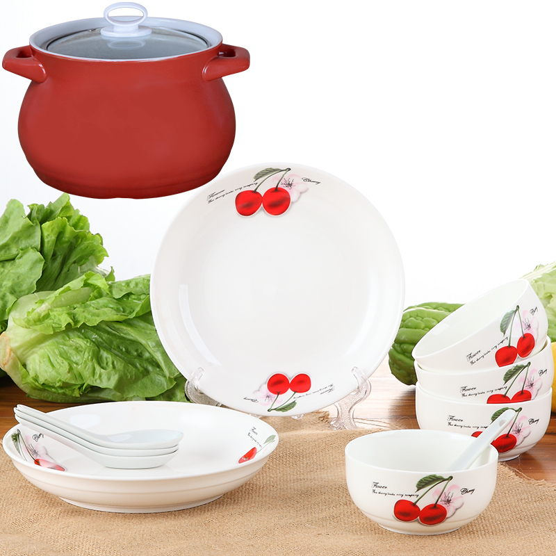4 liters casserole + 4 root spoon bowl + 4 + 2 set blue and white ceramic dish dish dish 8 inch Drink a bowl of korean