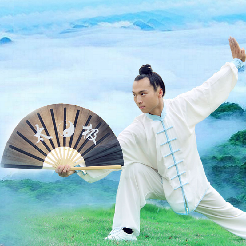 4508-GWSL refined bamboo bone kung fu fan loud fan groups performing tai chi fan dual fan dual fan free shipping