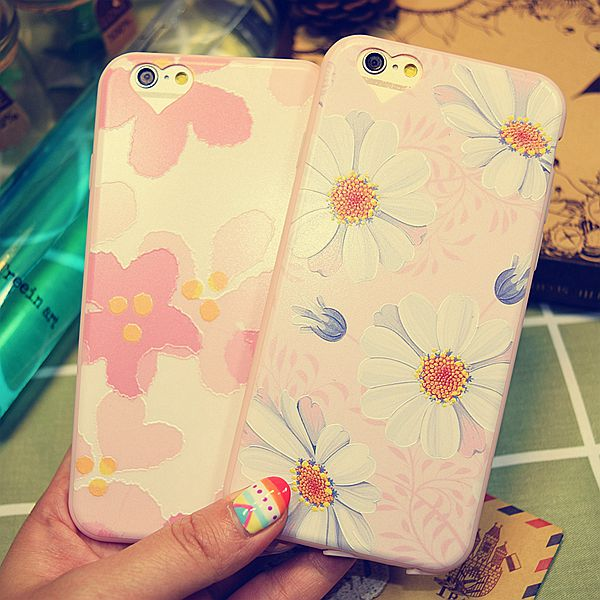 5.5 love dust plug the hole iphone6splus whole package phone shell silicone soft thin apple relief pink flowers