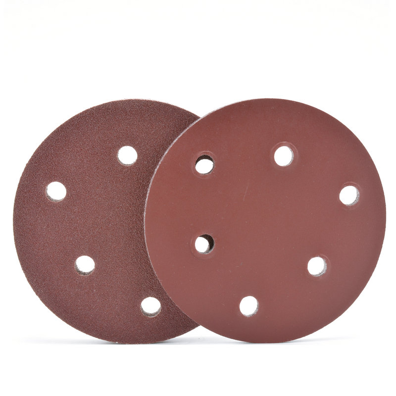 5 inch hole vacuum polishing machine grinding sandpaper sheet flocking sandpaper sheet 125mm 6 hole brushed grinding