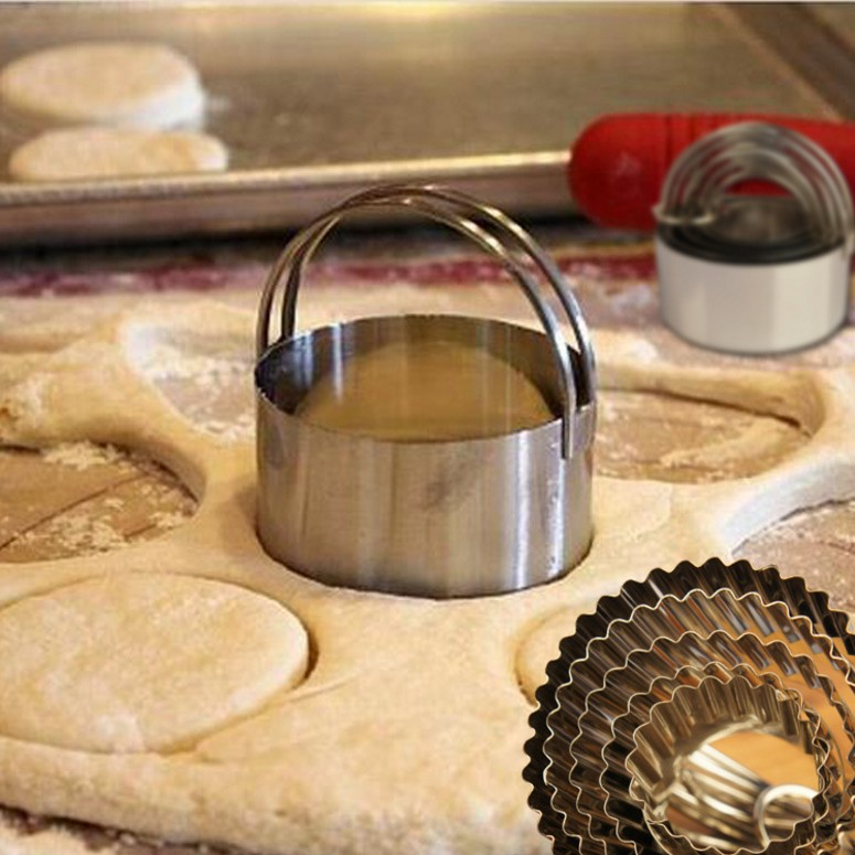 5 sets of stainless steel cookie mold die scone dumpling mold fondant cut biscuit mold mold lace mouth