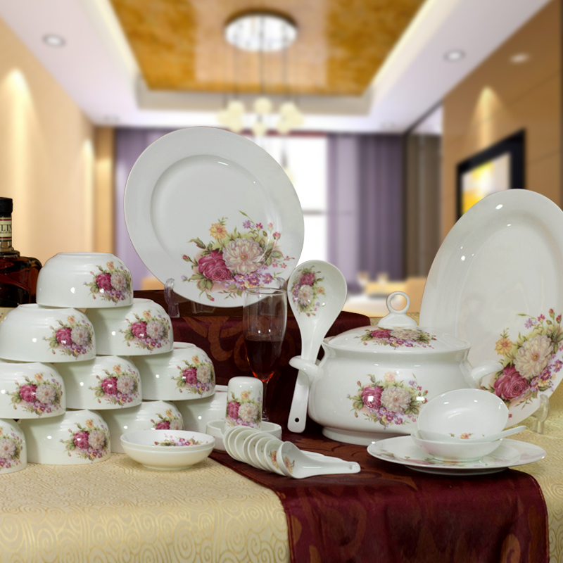 56 bone china tableware suit bowl gift set tableware crockery dish spoon set free shipping