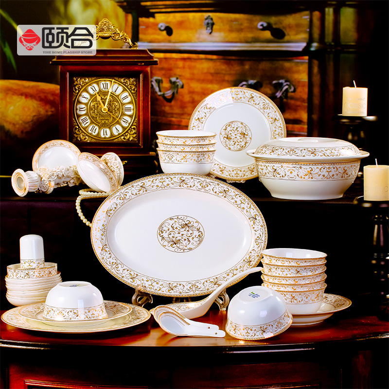 56 dishes round taiyangdao phnom penh bone china tableware suits jingdezhen ceramic bone china tableware chinese porcelain