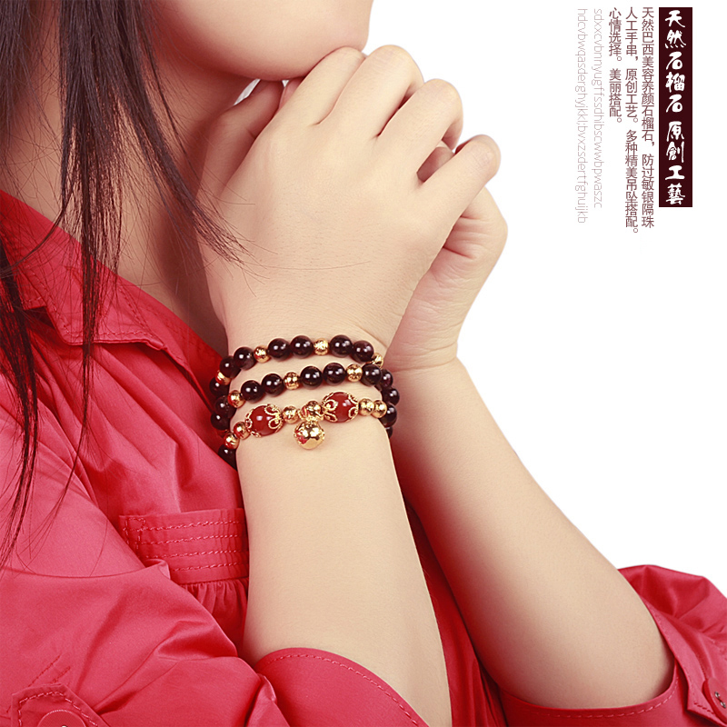 5a natural burgundy garnet bracelet female 3 korean version of the ring transporter crystal multilayer multiturn bracelets to send his girlfriend a gift