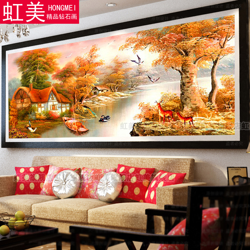 5d cube diamond drill round diamond full diamond diamond diamond embroidered painting world famous paintings autumn euclidian mountain with water warm home living room