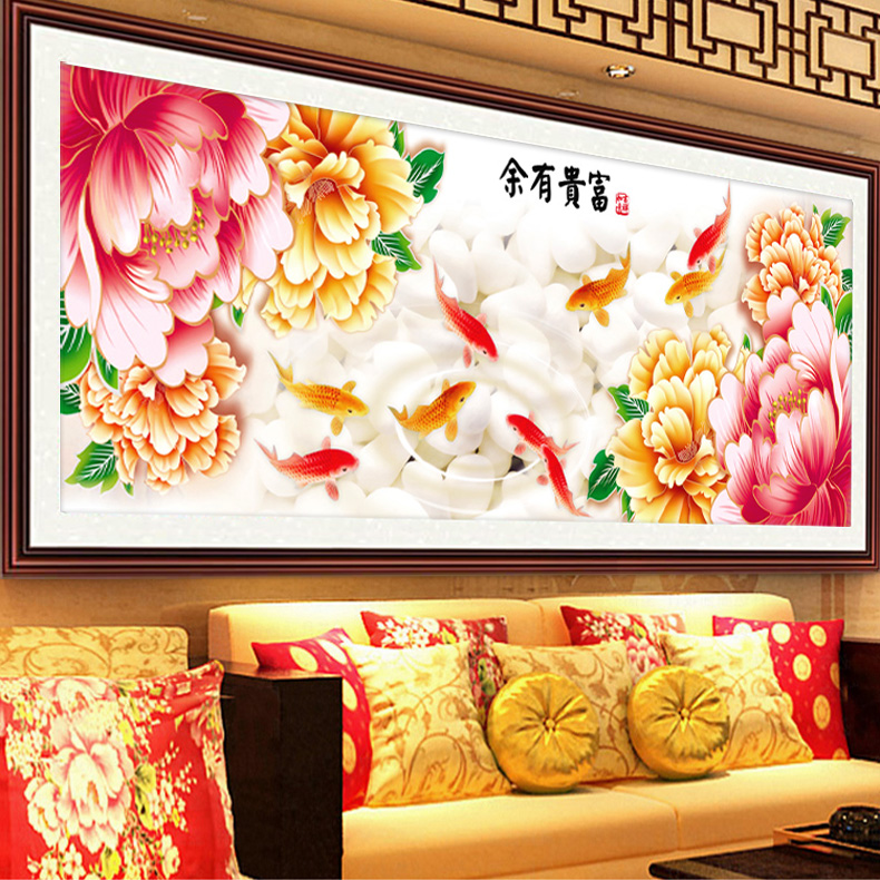 5d diamond draw substantial new living room peony nine fish figure cube full diamond diamond paste brick stitch show