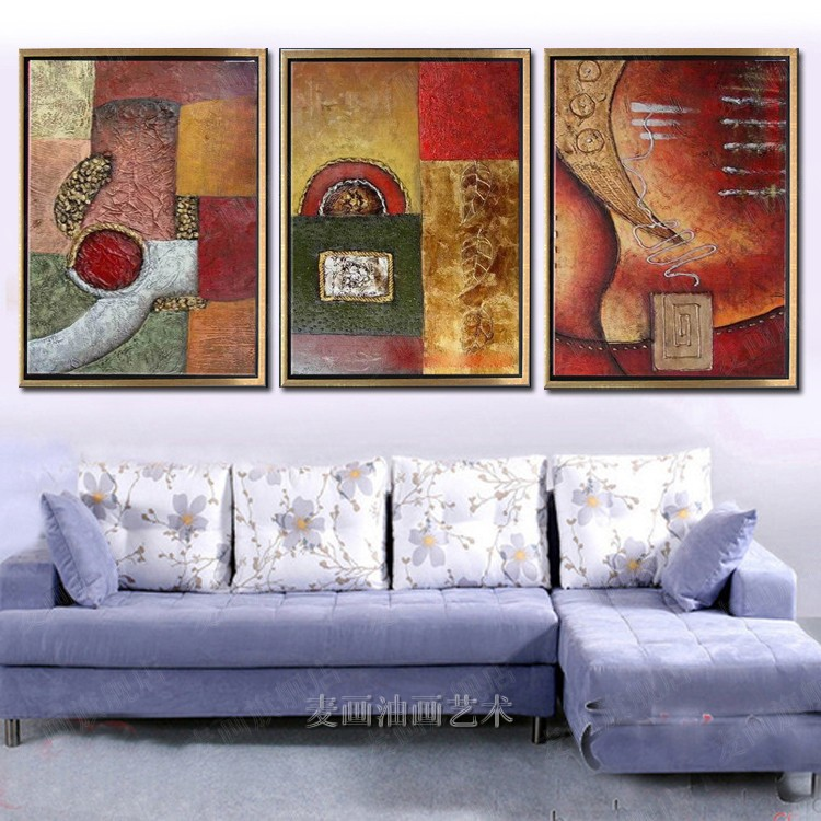 Modern minimalist pure hand painted oil painting framed painting the living room decorative painting triptych mural painting abstract paintings hotel 4