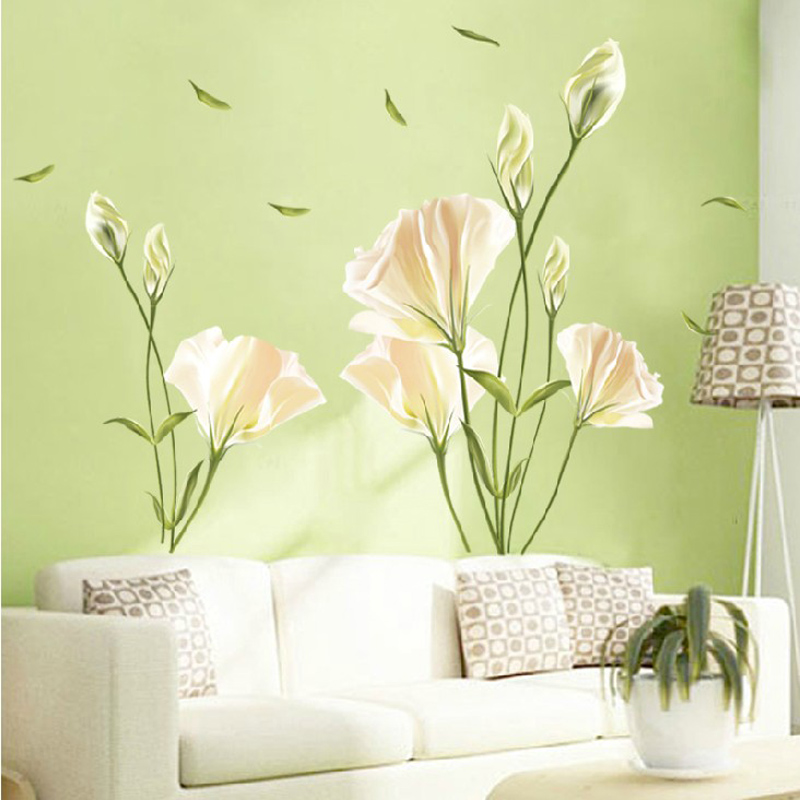 6th s flower wall stickers bedroom living room tv background wall decoration sticker decal sticker romantic lily