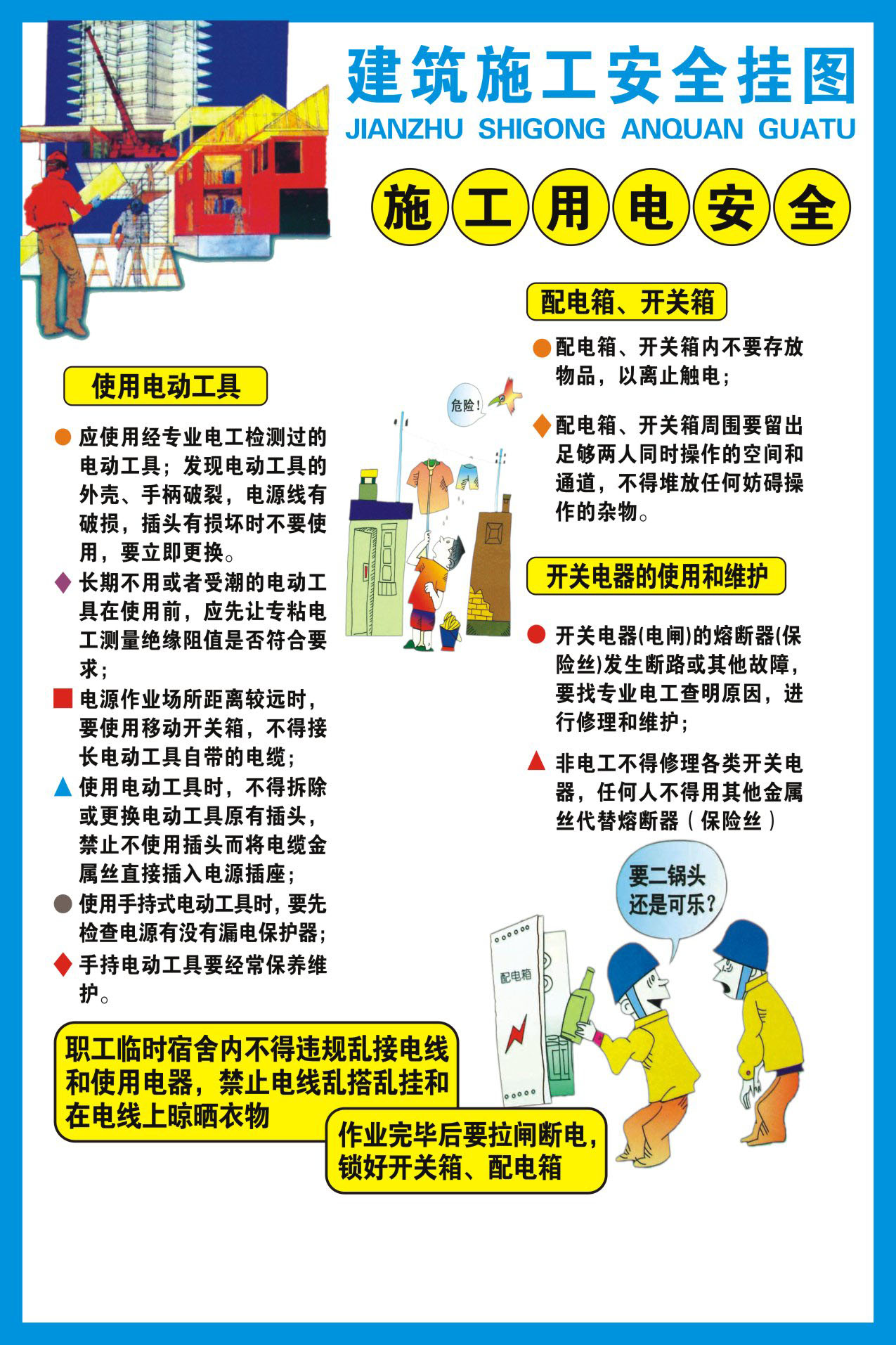 737 poster panels inkjet printed 577 construction site construction safety wall charts 8 electrical safety
