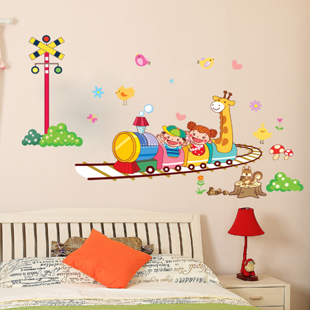 764 three generations of removable wall stickers cartoon train children's room kindergarten cartoon animal baby room wall stickers paper