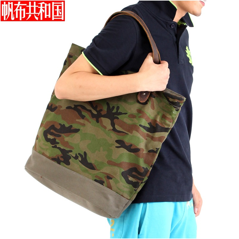 Canvas republic tide camouflage oxford man bag handbag canvas bag handbag shoulder bag rivets big bag