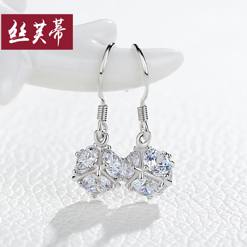 925 silver earrings korean temperament long section of zircon crystal earrings hypoallergenic earrings female temperament earrings japan and south korea