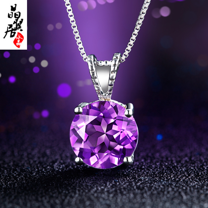 925 silver necklace female natural amethyst necklace decorative accessories silver pendant japan and south korea long and short summer to send his girlfriend
