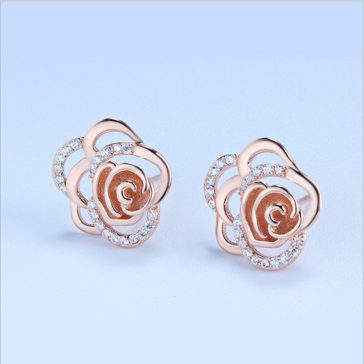925 silver rose sterling silver stud earrings korean fashion female wild earrings rose gold plated earrings