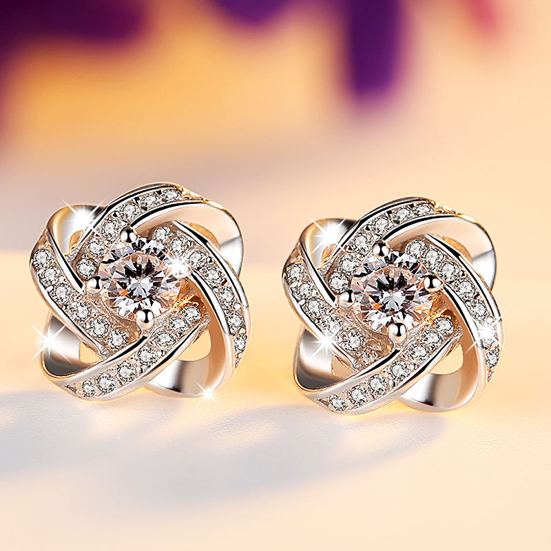 dda8b030c Get Quotations · 925 sterling silver stud earrings female south korean  sweet temperament korean fashion clover crystal earrings hypoallergenic