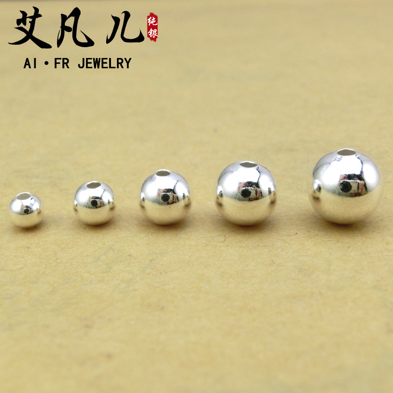 990 fine silver sterling silver beads loose beads hole glossy silver beads transfer beads rosary beads diy accessories bracelet necklace can be worn