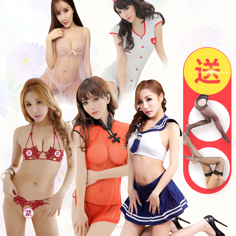 A combination of five sets of sao contains adult adult sexy lingerie suit women suit temptation transparent underwear summer thin section