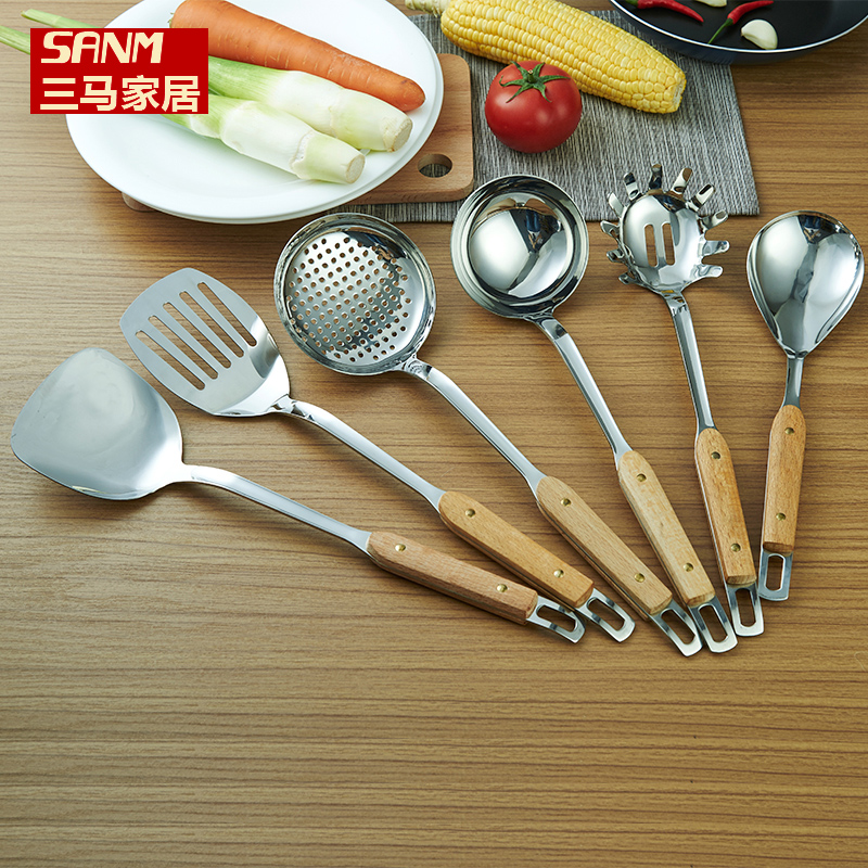 A full suite of stainless steel shovel spoon spatula drain diabla long wooden handle shovel shovel nonstick cooking utensils