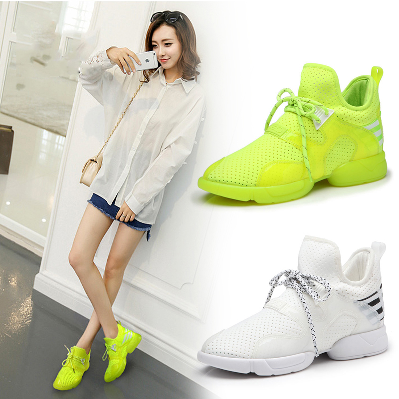 A. sue summer sports shoes women increased casual shoes breathable mesh running shoes korean version of the influx of candy fluorescent color