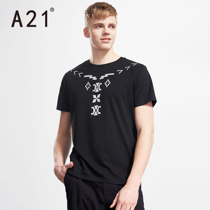 A21 men's slim tide brand geometric pattern printed round neck short sleeve t-shirt sleeve summer youth fashion tide male t