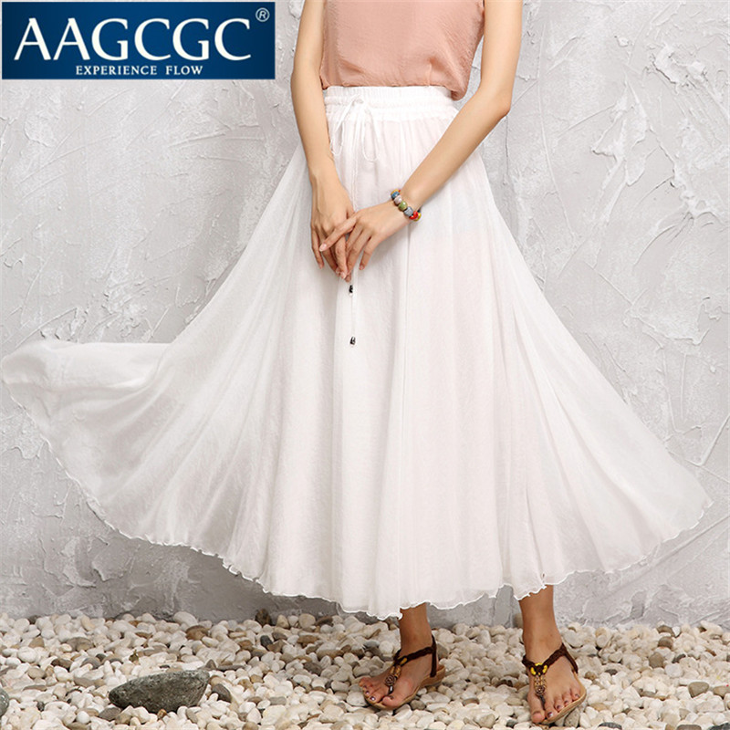 Aagcgc end custom 2016 summer new large size solid color skirt slim a-line dress was thin skirts 3232