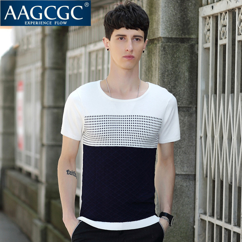 Aagcgc new youth spring and summer thin section polka dot slim bottoming shirt round neck short sleeve t-shirt tide 3940