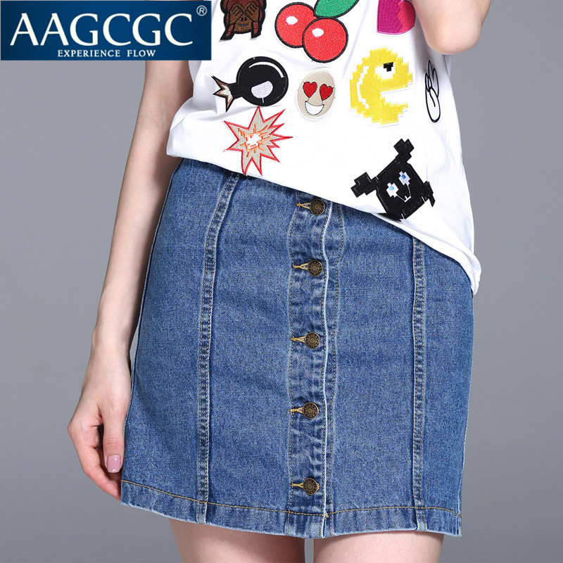 Aagcgc waist was thin denim skirts a word skirt 2016 summer new large size women solid color package hip skirt 9741